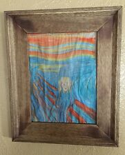 The Scream Edward Munch Hand Painted 12x9 On Delicate Thin Paper Wood Frame