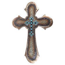 Western Style Wall Cross Turquoise Beads Horseshoe Brown Broken Glass