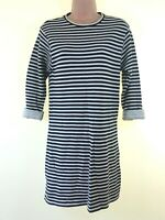 TOPSHOP black & cream stripe loose fit nautical jersey sweatshirt dress size 8