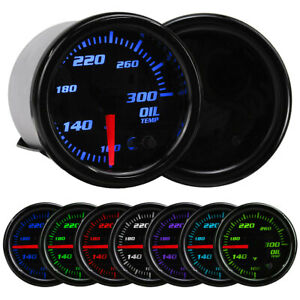 "12V 2"" 52mm Car Auto Oil Temp Gauge Temperature Meter 1/8 NPT Sensor 7 Color LED"