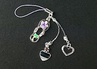 New Dangle Purple Sandal Silver Hearts Crystal Cell Phone Charms Free Shipping