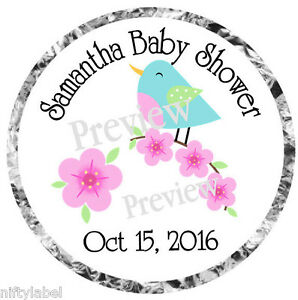 BLUE BIRD & FLOWERS BABY OR WEDDING SHOWER KISS LABELS - OPTIONAL SIZES