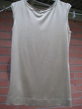 """LONG TEE GOLD SHEEN """" MNG SUIT """" EUR M FITS Sz 10 NEW CAP SLEEVE SOFT FABRIC"""