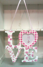 Shabby Chic Wooden Pink Rose Floral Love Heart Photo Frame Vintage Style Hanging
