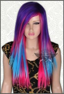 AU211 Charming Long Multi-Color Cosplay Straight Punk Full Wig wigs for women