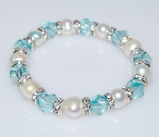 GORGEOUS GENUINE WHITE FRESHWATER PEARL AND TURQUOISE CRYSTAL SPACER BRACELET