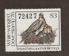 Txd6 - Texas State White Winged Dove Stamp. Single. Mnh. Og. #02 Txd6