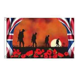 Lest We Forget 4 Soldiers (Remembrance Day) 5ft x 3ft (150cm x 90cm) Flag Banner