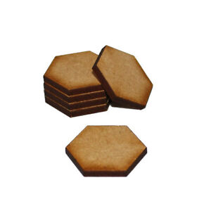 HEXAGONAL (HEXAGON) 50mm NATURAL MDF BASES for Roleplay Miniatures