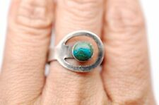 Adjustable Green Stone Ring in Sterling Silver - Stamped 925 - Size 8.25