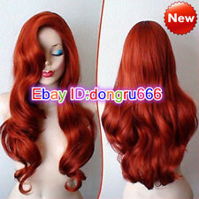 Copper Red Jessica Rabbit Curly Wavy Long Anime Cosplay Women Wig + wig cap
