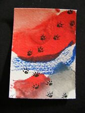 """ACEO Original Acrylic Paint & Pen Painting """"Year of the Dog #6"""" by NuoVo"""