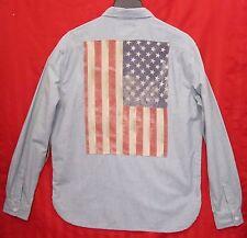 Men's Denim & Supply Ralph Lauren Flag Patch Chambray Shirt Blue Size XL NWT