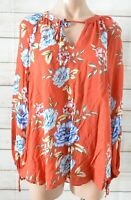 Sussan Tunic Top Blouse Size 10 Brown Orange Blue Pink Floral Long Sleeve