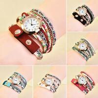 Fashion Women Ladies PU Leather Rhinestone Analog Quartz Wrist Watches Watch