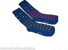 BRAND NEW -  ORIGINAL PENGUIN Multi Logo Striped Socks  -   Blue  2 Pairs
