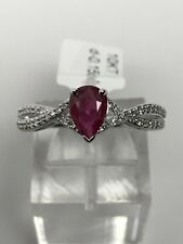 10K White Gold Pear Shape Ruby and Diamond 0.15ct twt Twist Ring July Gemstone