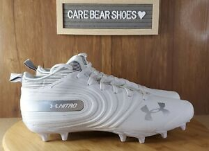 NEW UNDER ARMOUR UA NITRO MID MC FOOTBALL CLEATS SZ 11.5 WHITE 3000181-100