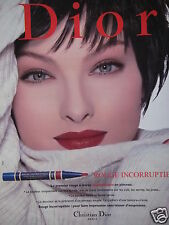 PUBLICITÉ 1996 DIOR ROUGE A LÈVRES INCORRUPTIBLE - ADVERTISING
