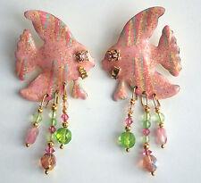 Lunch At The Ritz Angel Fish Pierced Earrings Dangle Beads Pink Enamel 1989 Vtg