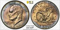 1977-P EISENHOWER DOLLAR PCGS MS64 UNC GEM SUBTLE MULTI COLOR BU TONED (DR)