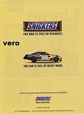 SNICKERS 2007 print ad clipping peanut butter chocolate RICKY RUDD NASCAR return