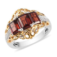 925 Sterling Silver Vermeil Yellow Gold Platinum Over Garnet Ring Jewelry Ct 2.9
