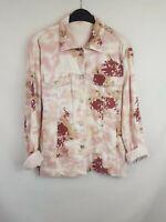 Brandtex ladies trucker jacket soft material floral pink mix cotton size 12 003