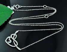 14k Solid white gold diamond stylish heart  necklace  0.28 ct dainty cute