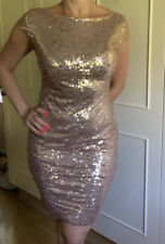 Gorgeous VESTRY Gold Sequin Open Back Bodycon Dress Size 12 New With Tag