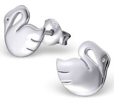 PAIR OF STERLING SILVER 925 SWAN EARRINGS / EAR POSTS / STUDS, 8 X 8 MM