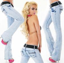 Sexy Women's Boot cut Jeans Denim Pants dark Blue + Belt UK Size UK 16-14