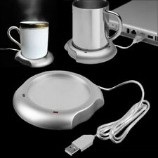 KQ_ Silver Alloy USB Heat Heater Milk Tea Coffee Mug Warmer Office Cup Mat Pad E