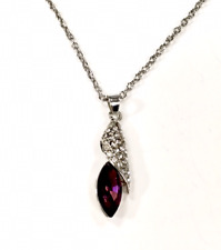 Necklace Pendant Crystal Rhinestone Silver coloured Purple Stunning