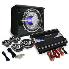 SET AUDIO COCHE 5000W MAX TUNING  ETAPA POTENCIA 4 ALTAVOCES SUBWOOFER CABLES