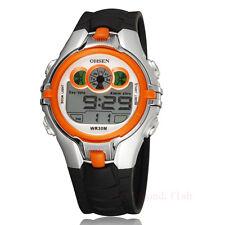 OHSEN 7Color Changable Led Light Orange Sport Digital Men Women Boy Quartz Watch