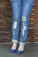 Women Girl Lady casual blue Denim Skinny Pants Leopard leggings Ripped Jeans