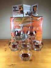 St. Clair 6 Glass Set in Box Blossom Gold Rim Flower
