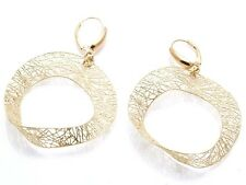 Vintage 14k yellow gold Filigree Open Circle Earrings Estate