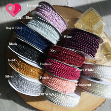 3mm Faux Pearl Bead String Metallic Crystal Trim Spool Accent Scrapbook 24 yards