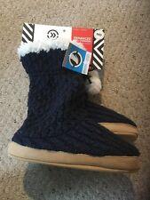 Women's Medium Isotoner Holiday Slipper Boots.  Navy.  So Soft!
