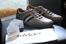 Bally Oriano Gray Flint Leather Tennis Shoes Sneakers Rare Swiss New Size 11 D