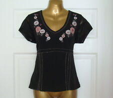 Ladies Black Short Sleeved Decorative Top - Size 12