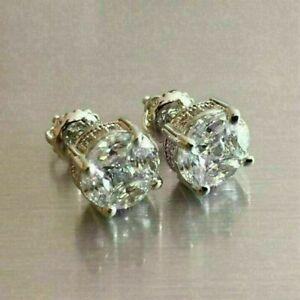 2.00Ct Round-Cut VVS1 Diamond Antique Vintage Stud Earrings 14K White Gold Over