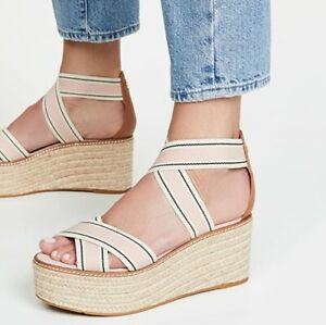 New Tory Burch Frieda Blush Stripe Pink Platform Espadrille Sandals Wedge Sz 9.5