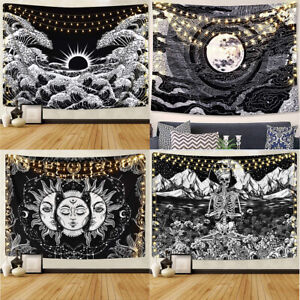 Burning Sun with Stars Psychedelic Black and White Great Wave Aesthetic Tapestry