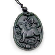 Happy Lucky Chinese Zodiac Dog Yuanbao Coin Ruyi Amulet Black Green Jade Pendant