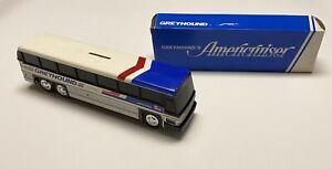 "Vintage Greyhound Americruiser No. 200 10"" Plastic Bus Bank In Box"