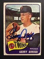 Gerry Arrigo Twins Signed 1965 Topps Baseball Card Auto Autograph