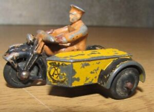 Meccano Vintage Original Dinky No.44b 1930s AA Motorcycle & Sidecar Diecast Toy